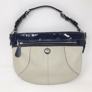 Coach Laura Hobo Purse Cream Leather Navy Patent